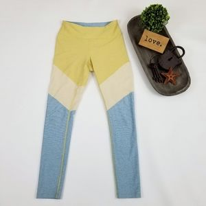 Outdoor Voices colorblock blue yellow leggings